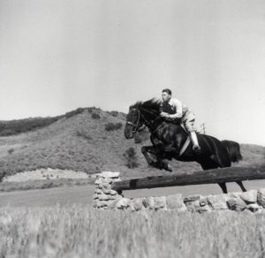 "1950s Ronald Reagan jumping his horse ""Tar Baby"" at Malibu Canyon Ranch ""Yearling Row"""